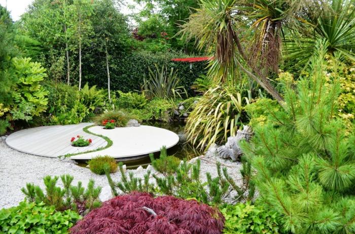 feng shui jardin avec le symbôle de yin et yang