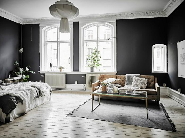 par exemple c'est un intérieur scandinave en noir et blanc