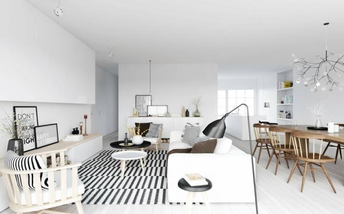 intérieur scandinave en blanc avec des décorations avec des imprimés