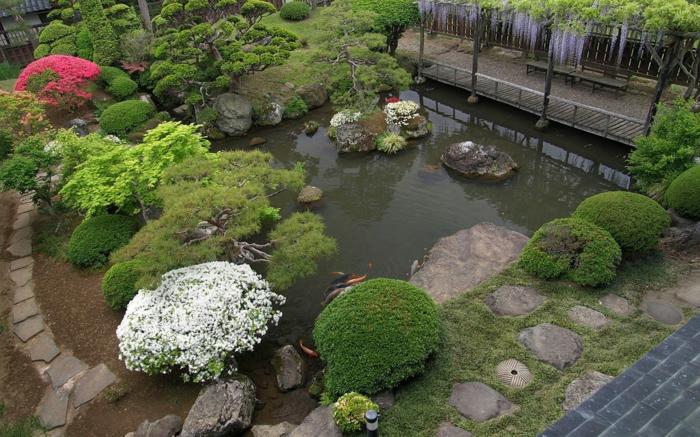 jardin feng shui avec bassin en chine