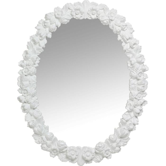 miroir de design en bois de sapin avec une couronne fleurie