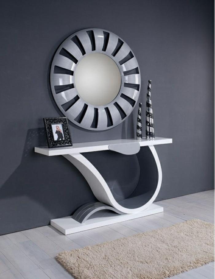 miroir mural laqué blanc et gris
