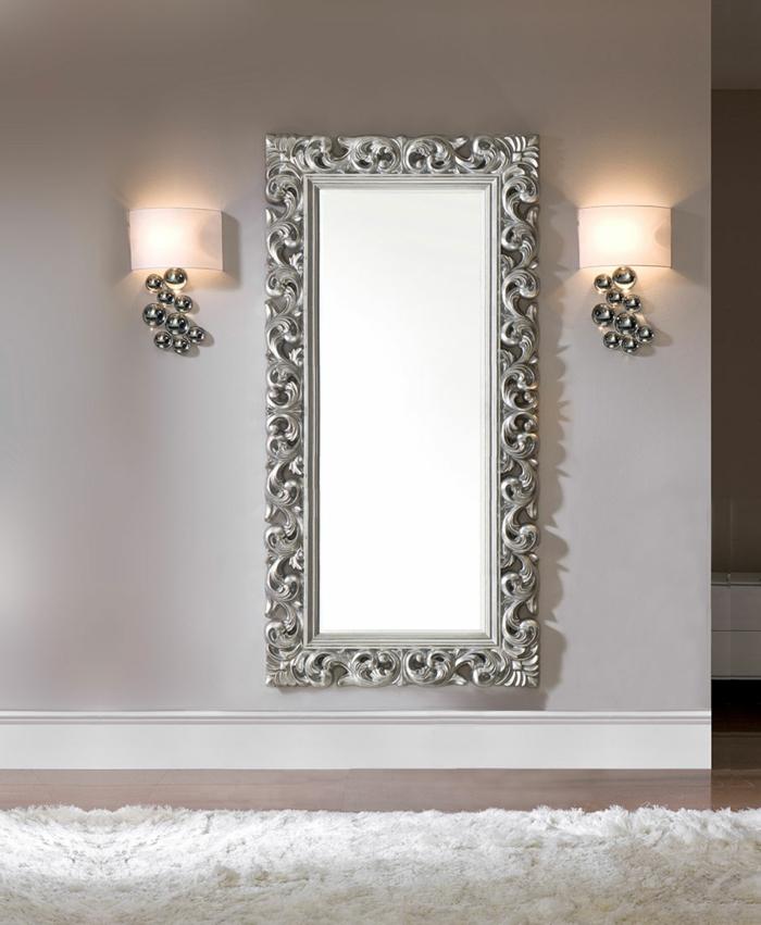 miroir mural doré et argenté