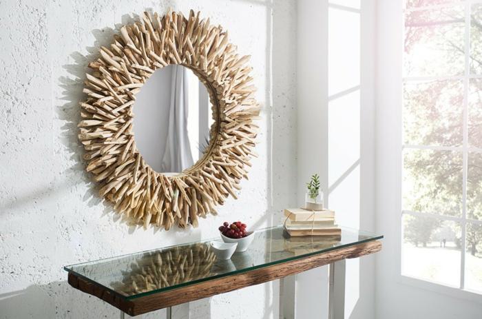 miroir mural rond en bois flotté