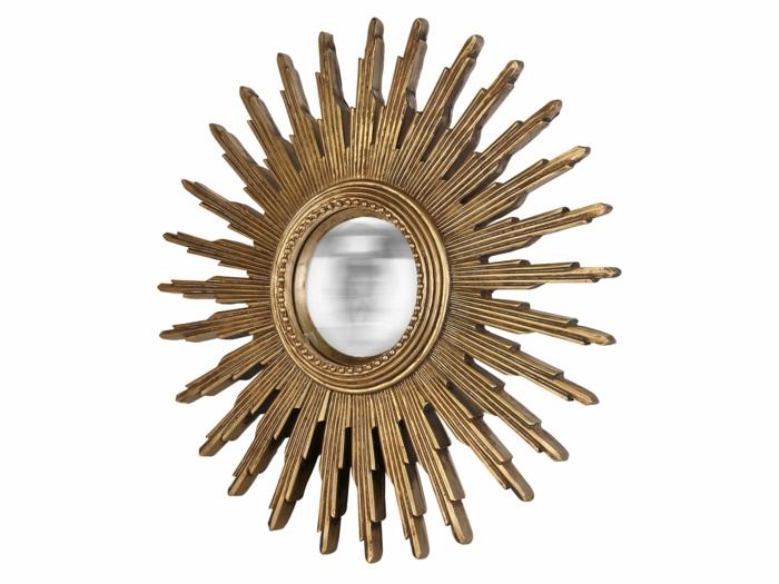 comme c'est à la mode le miroir mural soleil résine dorée