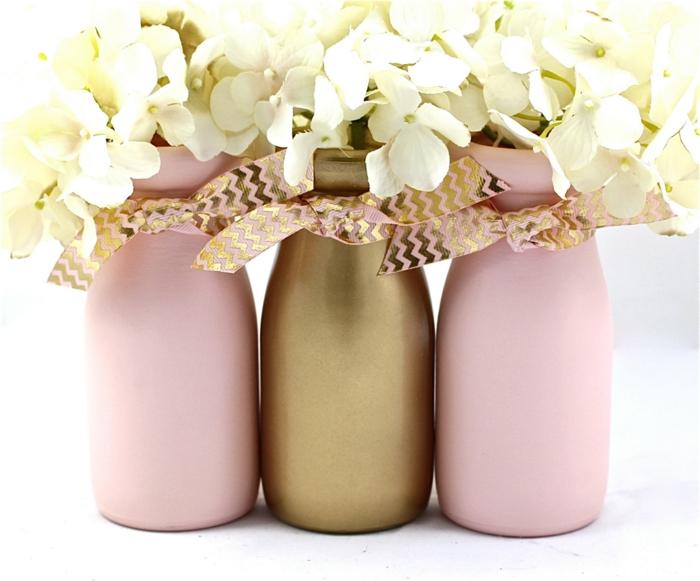 décoration bouteille en verre en couleur d'or et rose