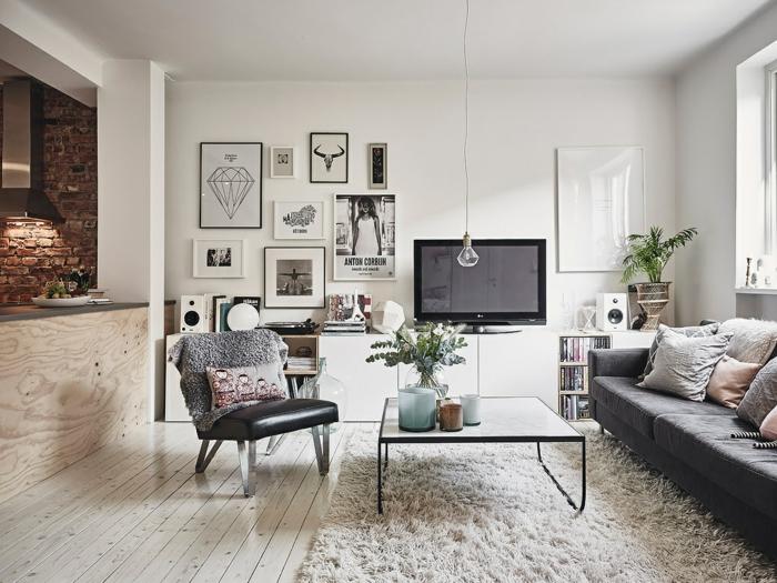 par exemple c'est un salon au style scandinave avec des photos sur le mur