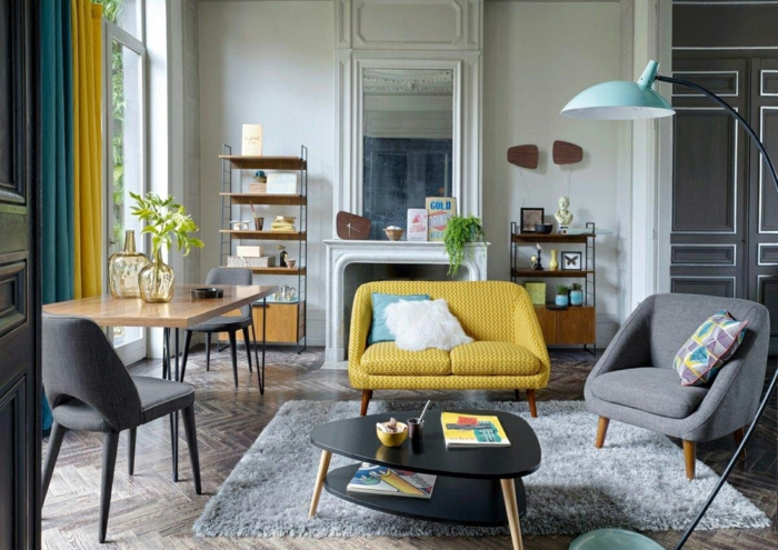 par exemple ce sont un séjour et une salle à manger réunis en style scandinave