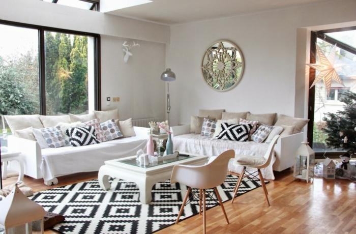 tapis et coussins en style scandinave