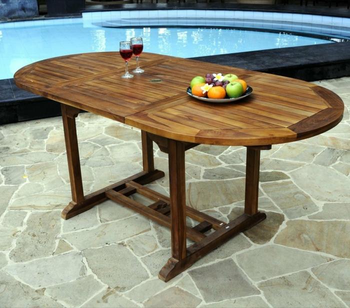 par exemple c'est une table ovale teck huilé avec ralonge papillon