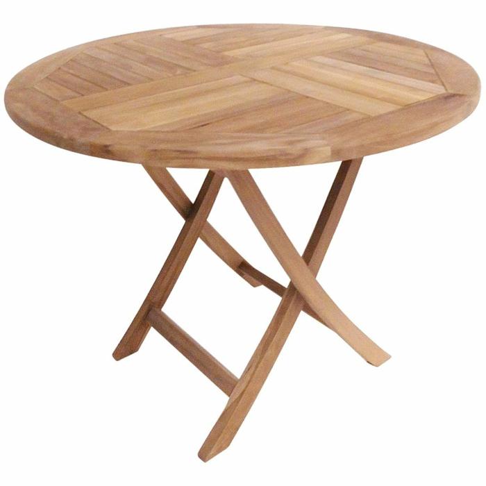 par exemple une table ronde de jardin teck massif