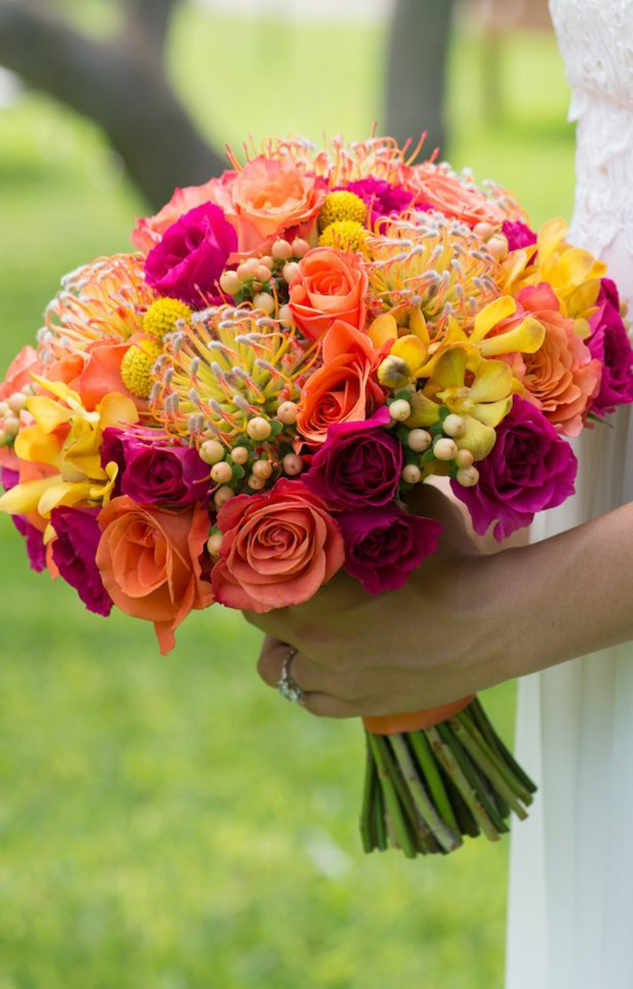 bouquet de mariée multicolore