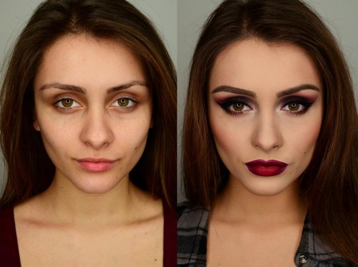 maquillage sourcils avant et après