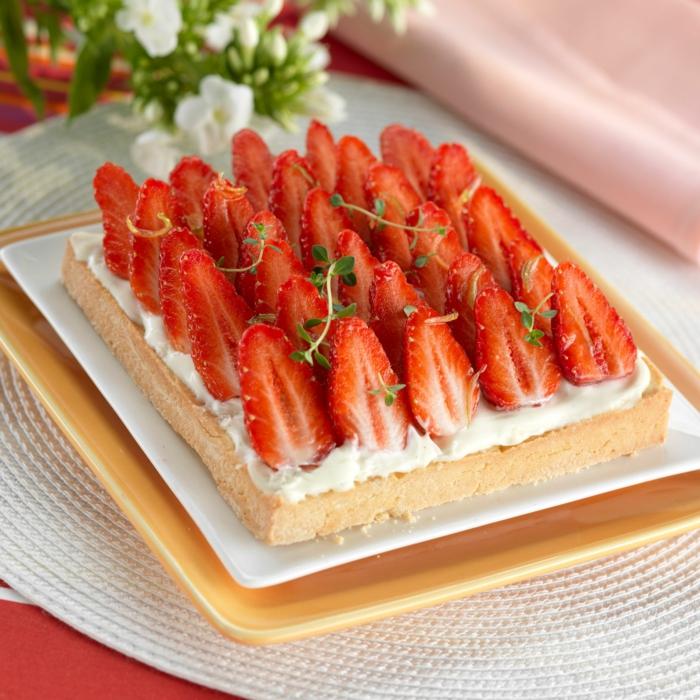 par exemple c'est un gâteau aux fraises à la crème mascarpone