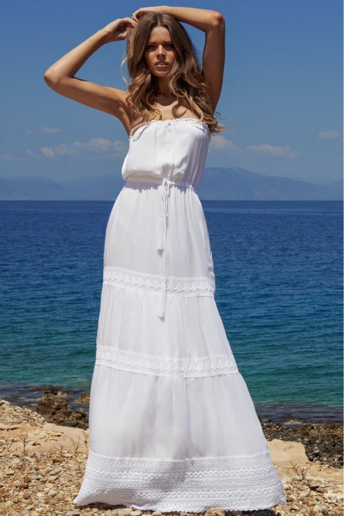 robe longue été bustier blanche