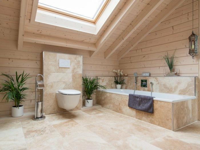 par exemple c'est un lambris mural en bois dans une salle de bains