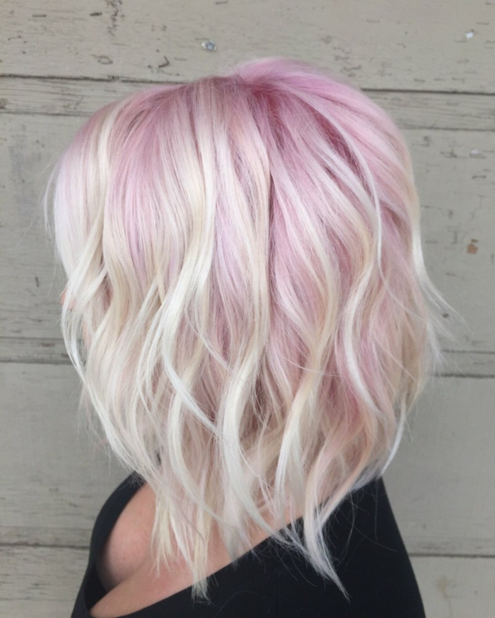 Coloration cheveux pastel rose et blonde