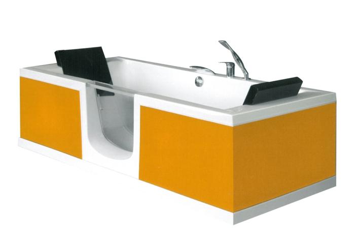 par exemple c'est une baignoire orange avec porte