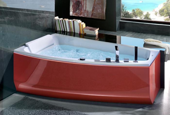 baignoire rouge