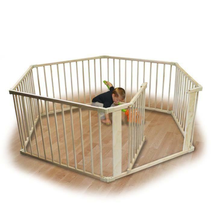 barrière et parc bébé en bois