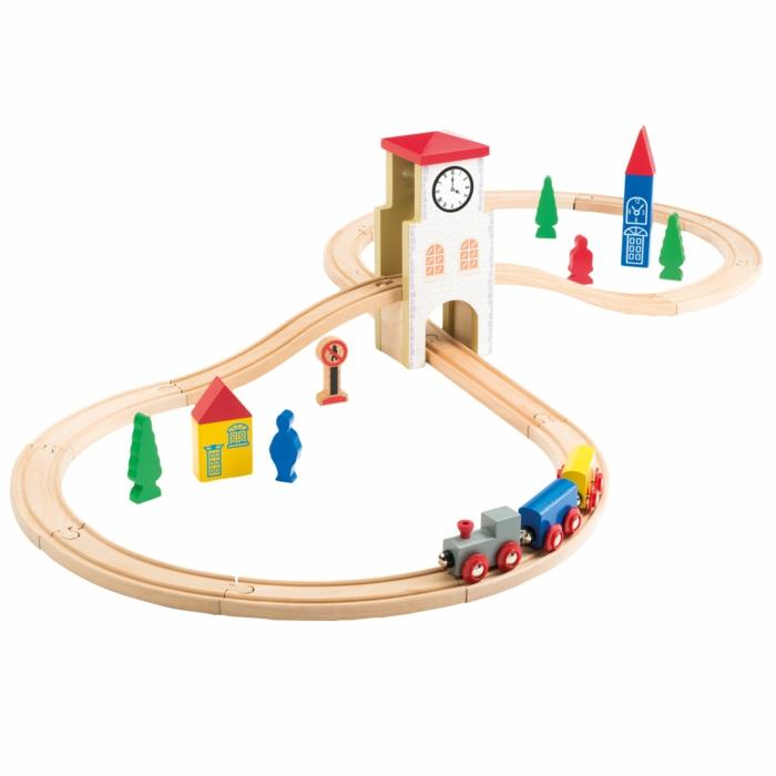 circuit de train en bois, jouet en bois joli en couleurs vives
