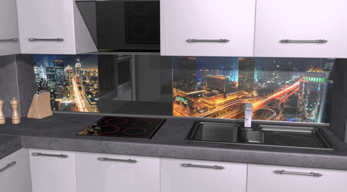 par exemple c'est une crédence de cuisine en verre trempé