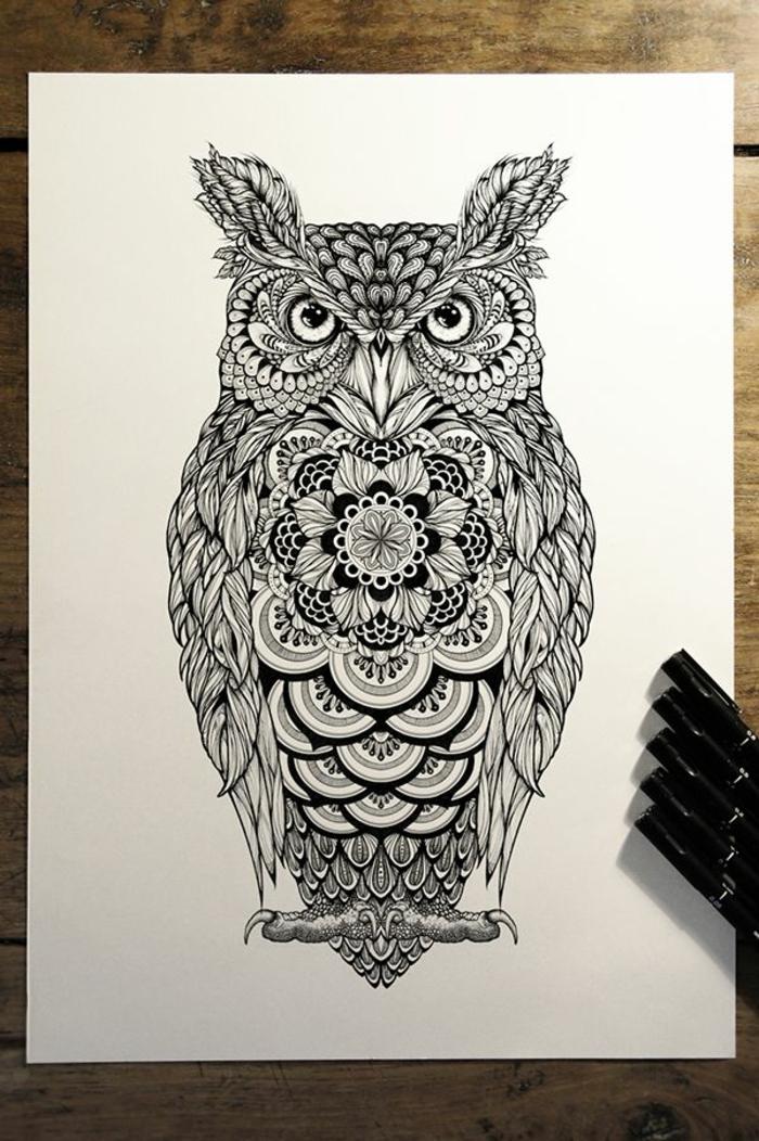 dessin tatouage mandala hibou