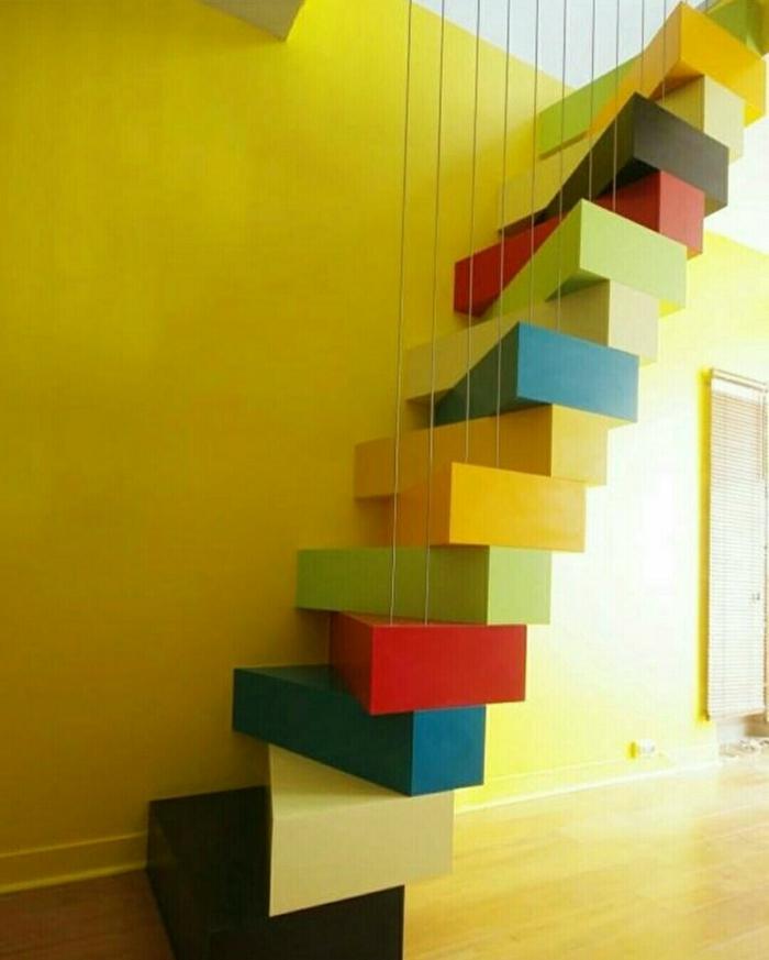 escalier à pas japonais coloré