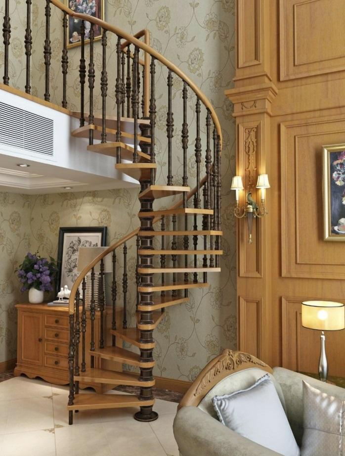par exemple c'est un escalier colimaçon en bois