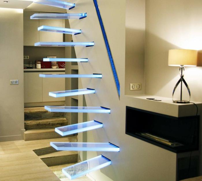 escalier japonais design en verre avec éclairage led