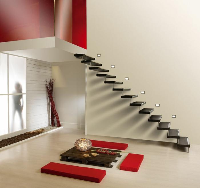 par exemple c'est un escalier moderne suspendu