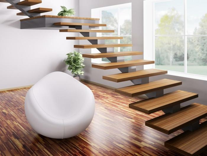 par exemple c'est un escalier suspendu avec des marches en bois