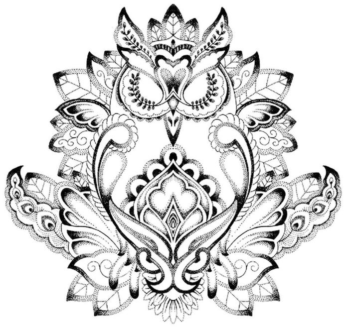 hibou pour un tatouage mandala