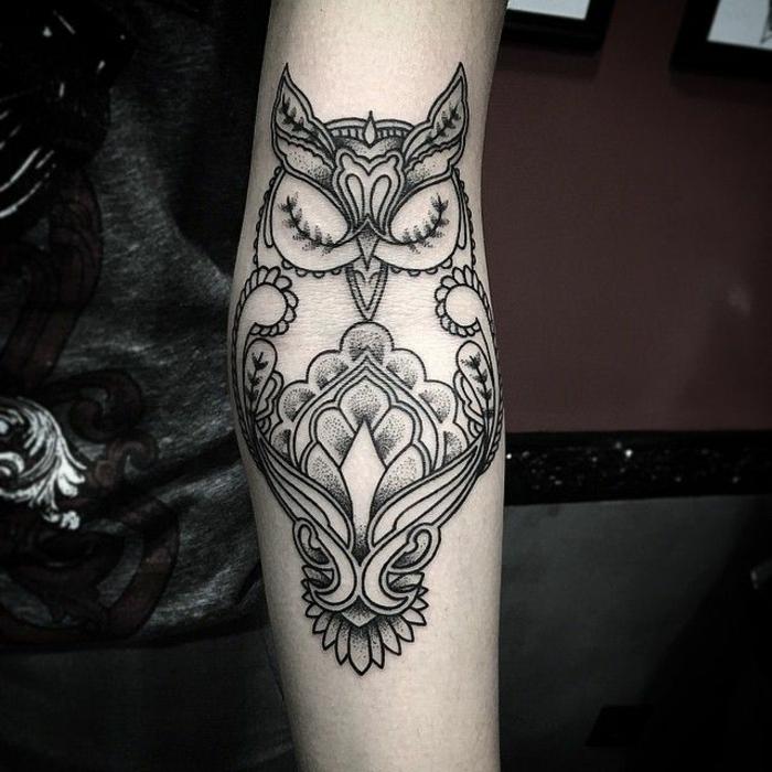 hibou tatouage mandala