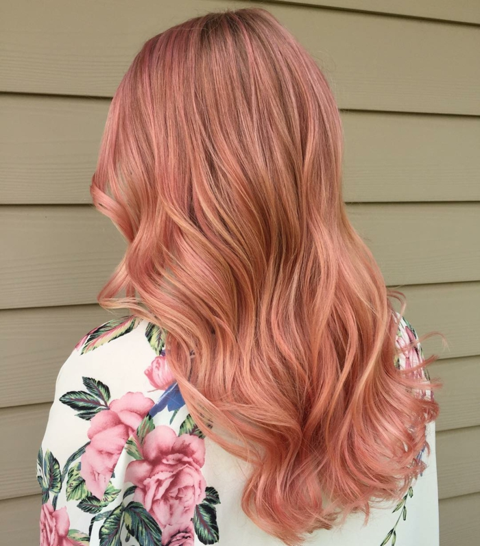 idée coloration cheveux en rose gold