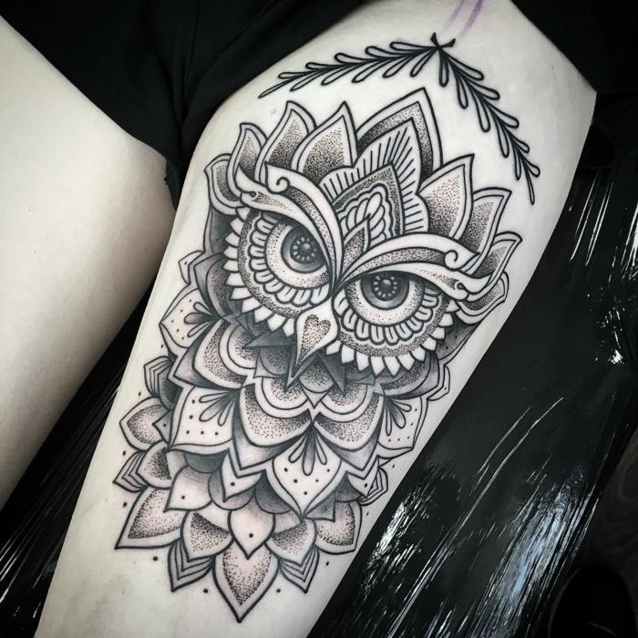 idées pour tatouage mandala hibou