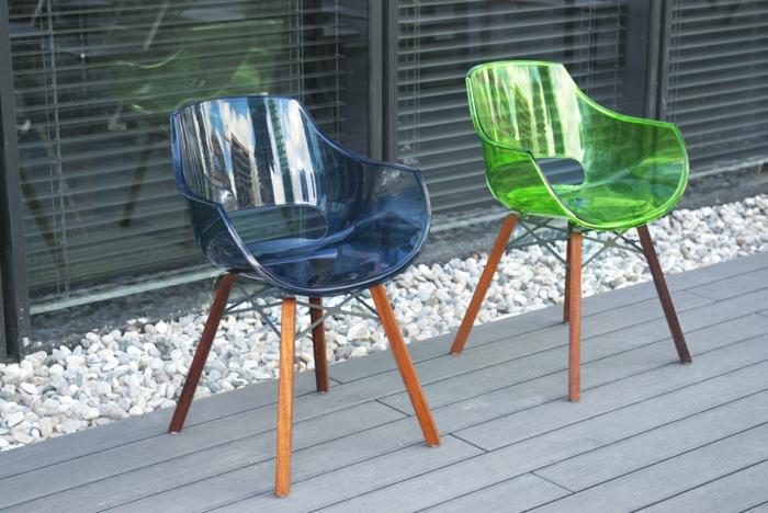chaise transparente pour la terrasse