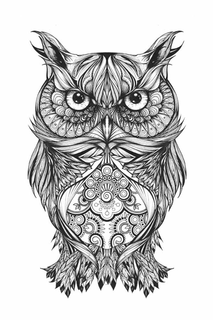 mandala hibou tatouage mandala