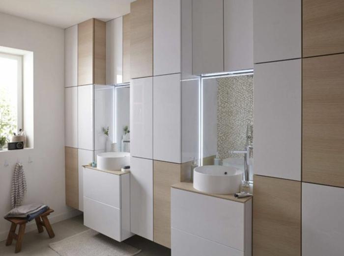 par exemple c'est un mur de rangement dans la salle de bain