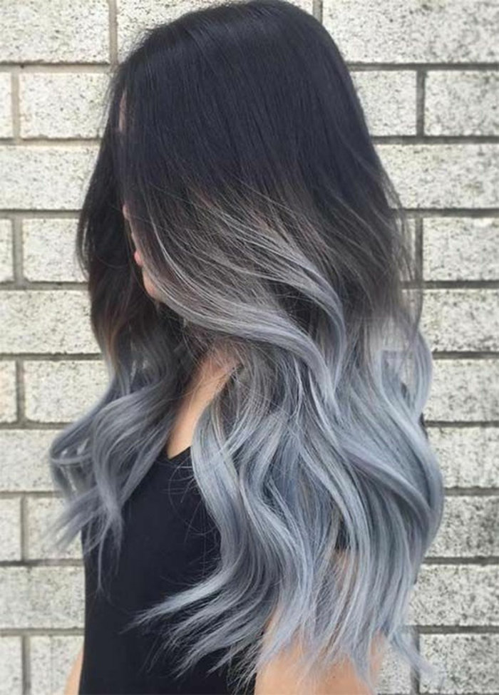 ombré gris coloration cheveux idée originale