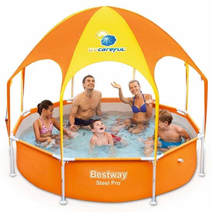par exemple c'est une piscine avec une protection soleil