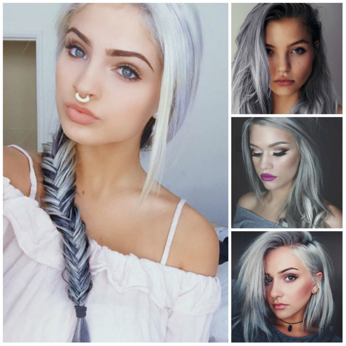 tendance cheveux coloration grise photos