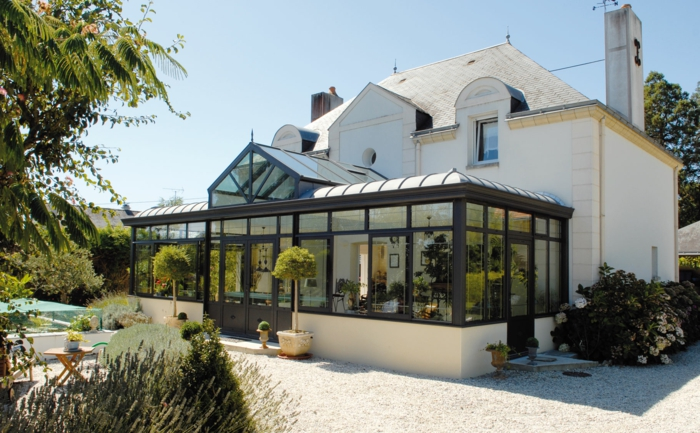 exemple de véranda avec un toit plat opaque
