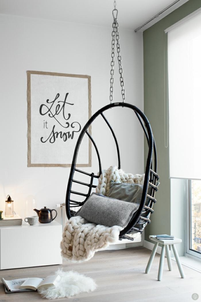 fauteuil suspendu -idées déco salon pour vous inspirer