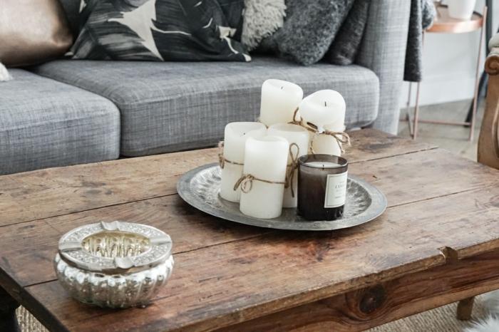 idées déco salon pour vous inspirer de composer une ambiance tendance avec des bougies sur la table