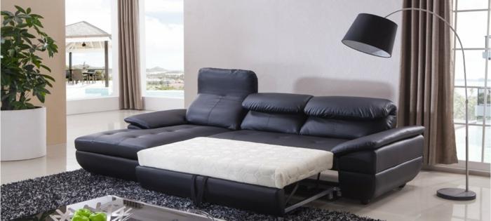 canapé d ' angle convertible en cuir noir