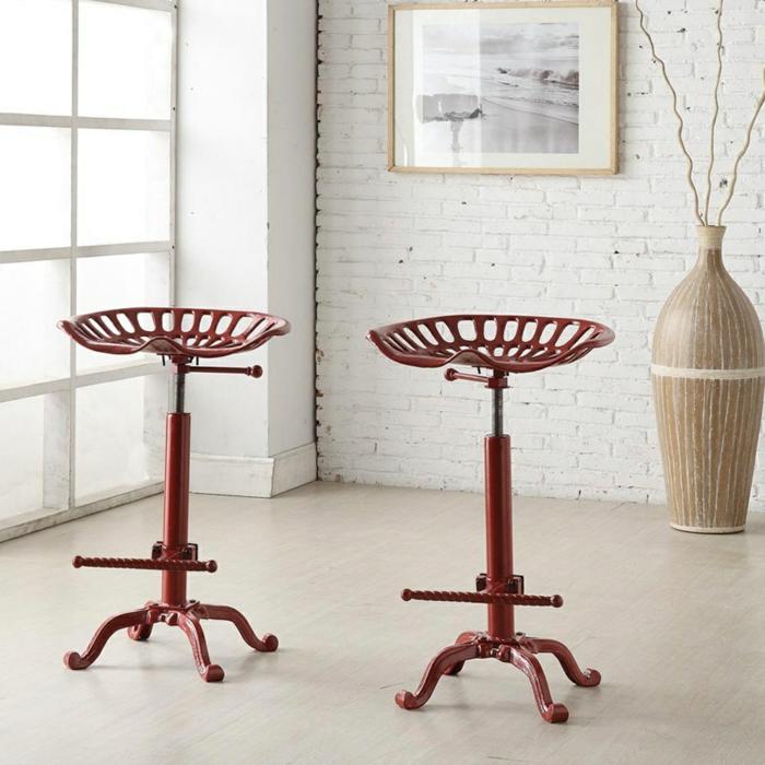 chaises de bar réglables en métal