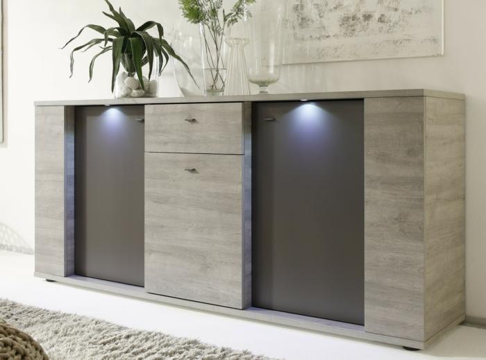 ajouter une touche de confort avec ce meuble en couleur taupe et grise