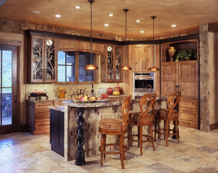 cuisine de bois et tabourets bois