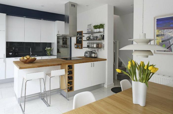 cuisine ikea blanche et chaise de bar